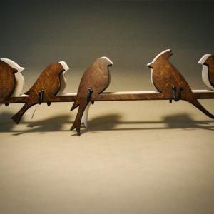 Medinė rūbų kabykla Paukščiai