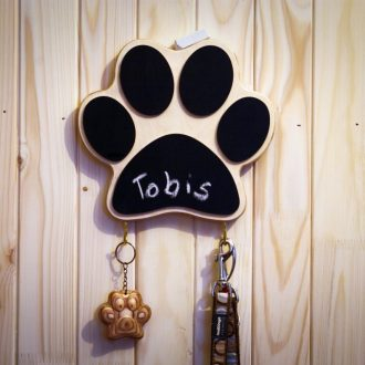 Wooden dog leash hanger with chalkboard Paw Print