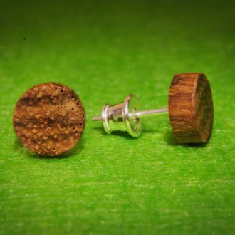 Wooden stud earrings round Zebrano