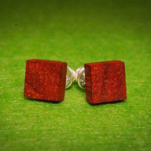 Kvadratiniai mediniai auskarai Padouk