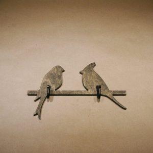 Medinė sieninė rūbų kabykla 2 Paukščiai