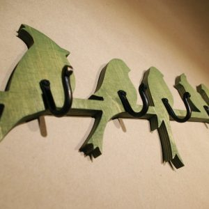 Medinė sieninė rūbų kabykla 5 Paukščiai