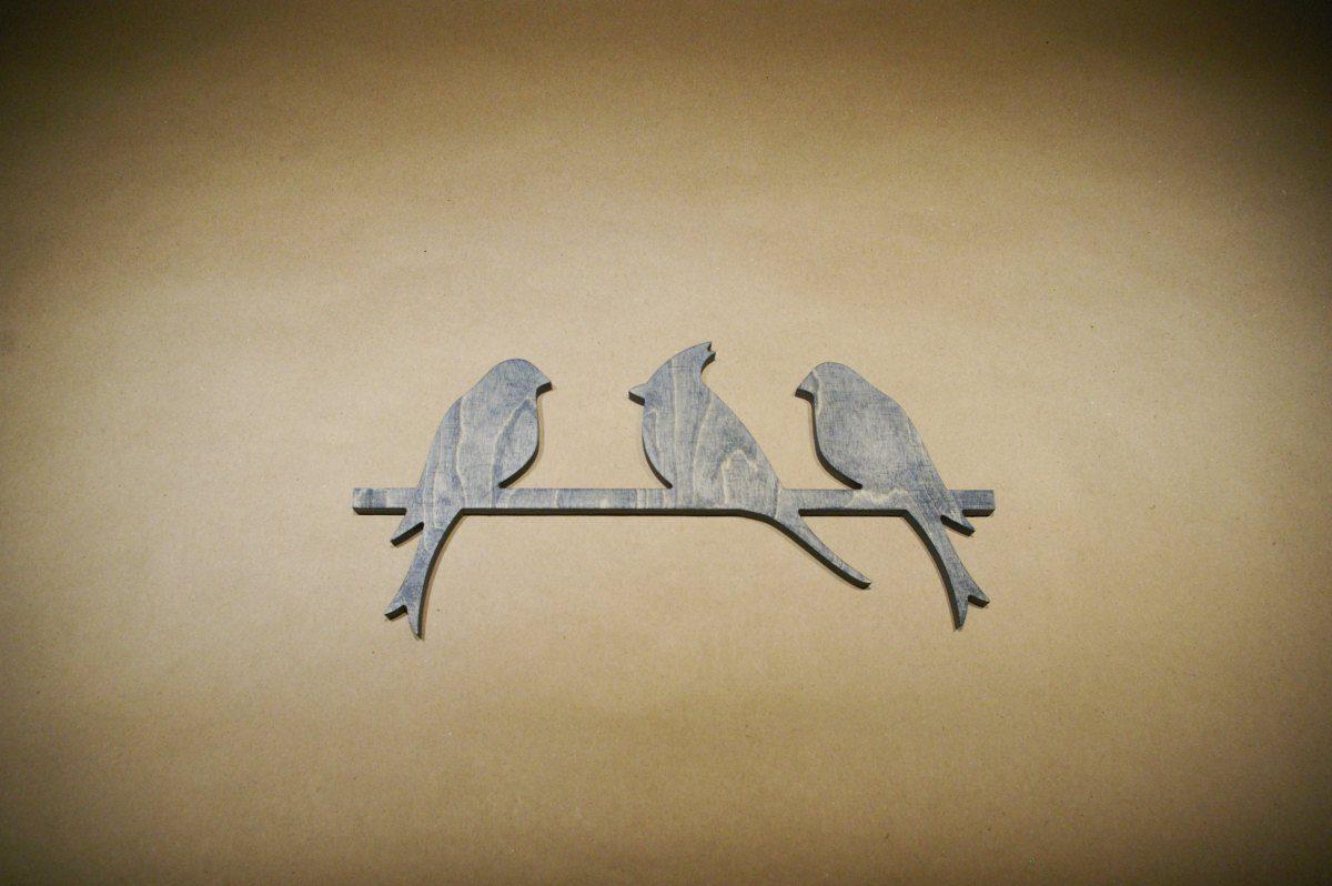 Medinė sienos dekoracija 3 paukščiai
