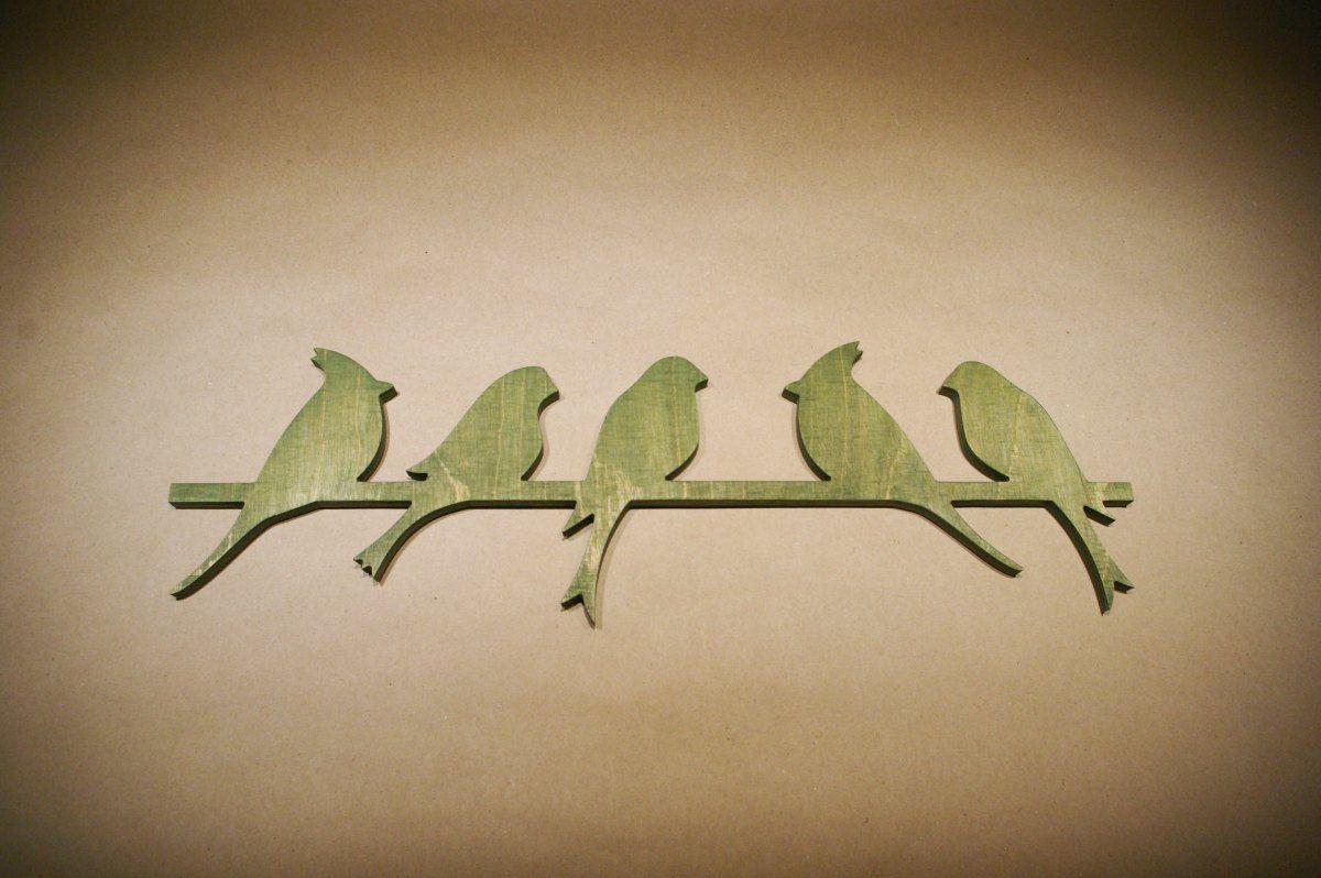 Medinė sienos dekoracija 5 paukščiai