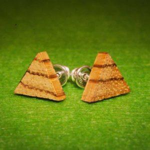 Trikampiai mediniai auskarai Zebrano