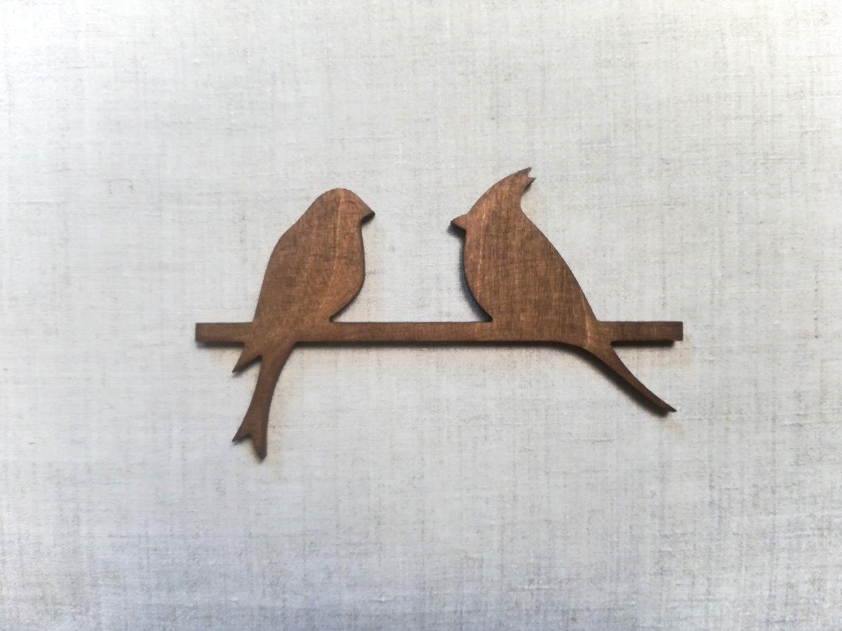 Medinė sienos dekoracija 2 paukščiai, vaškuota