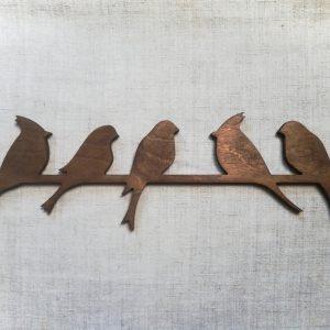 Medinė sienos dekoracija 5 paukščiai, vaškuota