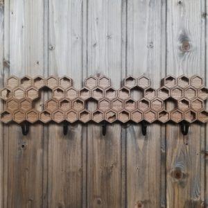 Medinė sieninė rūbų kabykla Korys su 5 kabliukais