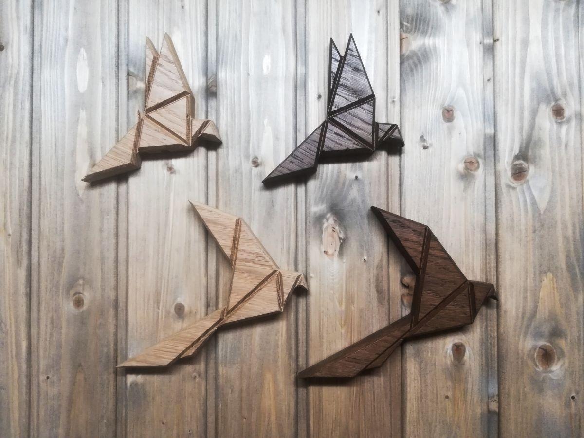Medinė sienos dekoracija Origami paukštis