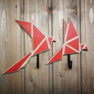 Mediniai origami stiliaus rūbų kabliukai Paukščiai