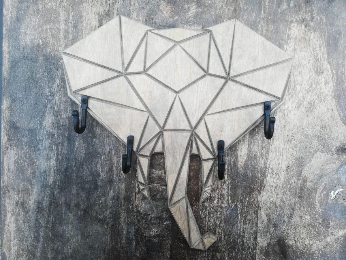 Medinė sieninė rūbų ar raktų kabykla Origami Dramblys
