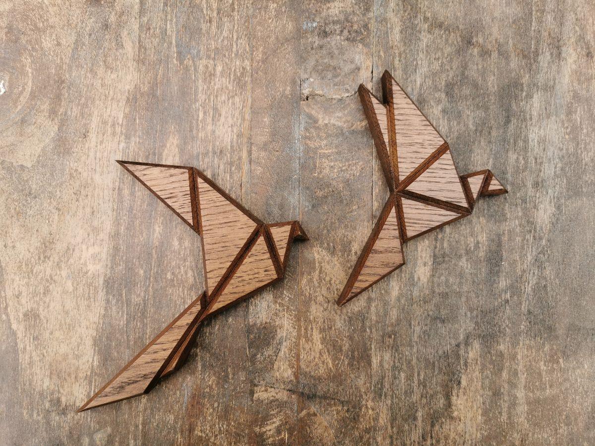 Medine sieninė dekoracija Origami Paukščiai