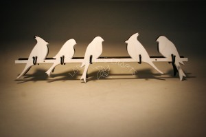 Medinė sieninė drabužių kabykla Paukščiai